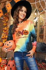 Tie-väriaine Peace Love Halloween Print Woman Collegepaita