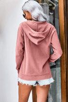 Pembe Fermuarlı Kapüşonlu Ceket