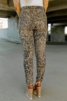 Skinny jeans med hög midja i leopard