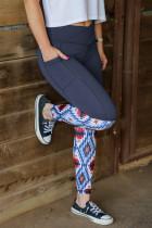 Grå crossover -leggings med hög midja i Aztec -mönster med patchwork