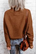 ブラウンジップニットハイネックセーター