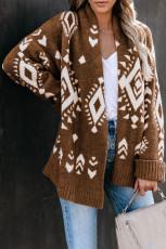 ブラウンアステカプリントオープンフロントニットセーター