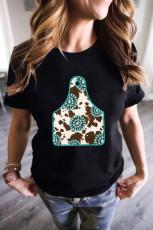 ソリッドブラックターコイズカウオックスホーンタググラフィックTシャツ