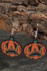 Orange Halloween Pumpkin Drop Earrings