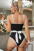 Svart vit Halloween Cosplay fransk maid kostym med förkläde