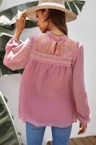 Vaaleanpunainen Frill Neck Swiss Dot Puff Sleeve Pusero