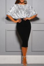 Μαύρο Sequin Batwing Top Midi Φόρεμα