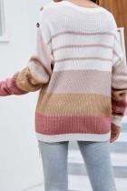ずんぐりしたボタン付きショルダーカラーブロックセーター