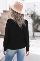Svart stickad tröja med rund halsringning