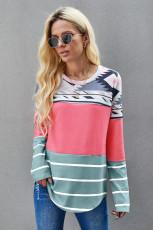 Rosa Tribal randig långärmad T-shirt