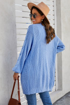 Sky Blue Open Cable Sleeve Long Cardigan