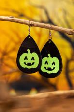 Halloween lysande pumpa ansikte PU läder krok örhängen
