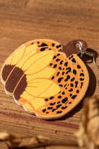 Halloween -leopardikuvioiset auringonkukan kurpitsa -korvakorut
