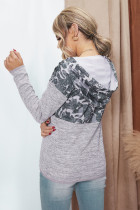 Grå Camouflage Splicing Pocketed Gray Hoodie