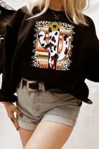 Leopard Serape Frame Cow Cactus Graphic Sweatshirt