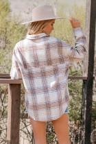 Chest Pocket Plaid Half Zip Sweatshirt