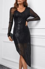 Μαύρο V λαιμό μακρυμάνικο ασύμμετρο Sequin φόρεμα