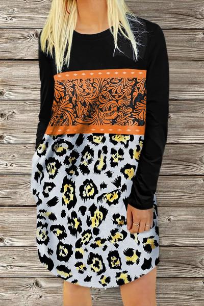 Leopar Çiçekli Buckstitch O-Boyun Mini Elbise