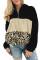 Svart leopardfärgad blocklockficka med fleece i Quarter med dragkedja