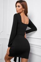 블랙 스퀘어 넥 타이 매듭 롱 슬리브 미니 드레스