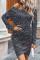 Grå leopardmönstrad miniklänning med rågformad fåll