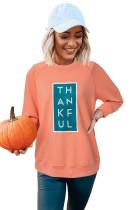 オレンジハロウィンラグランTHANKFULグラフィックスウェットシャツ