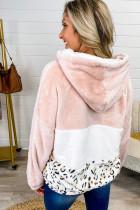 Vaaleanpunainen Leopard Color Block Pocket Fleece Quarter -vetoketjuhuppari