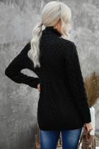 블랙 집업 오픈 프론트 니트 스웨터