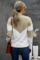 Khaki Colorblock V Neck -paita