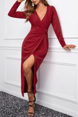 Viininpunainen pitkähihainen V-aukkoinen Twist-etureikäinen pitkä mekko
