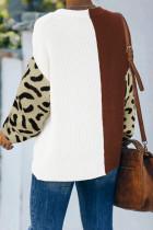 Πουλόβερ Brown Leopard Print Contrast Color V Neck