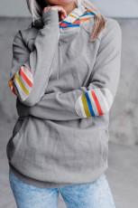 Rainbow Color Stripe Print Elbow Patch -huppari