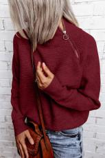 Punainen vetoketjullinen neulepaita