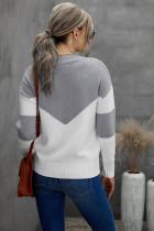 Maglione casual con scollo a V colorblock grigio