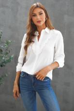 White Ruffles Crinkled Långärmad skjorta