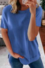 Μπλε στρογγυλό λαιμό κοντό μανίκι μονόχρωμο μπλουζάκι