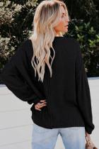 Musta napillinen sivuhalkio neulepaita