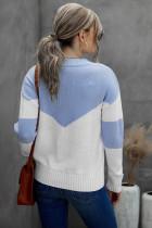 Casual πουλόβερ Sky Blue Colorblock V Neck