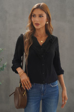 Black Ruffles Crinkled Långärmad skjorta