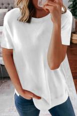 Vit rundhalsad kortärmad T -shirt i enfärgad