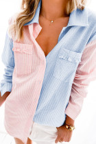 Rosa färgblock Blommig randig skjorta med fickficka