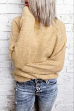 Πλεκτό πουλόβερ με χακί με φερμουάρ