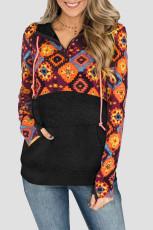 Μαύρο Boho Print Color Block Patchwork Zip Collar Φούτερ