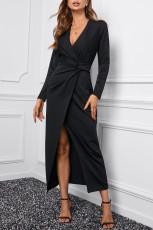 Svart Långärmad V-ringad Twist Front Slit Long Dress