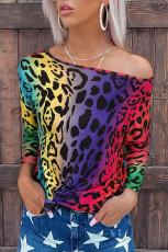 Värikäs Leopard Gradient Loose Pusero