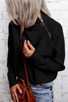 Μαύρο φερμουάρ πλεκτό ψηλό πουλόβερ