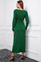 Vihreä pitkähihainen V-aukkoinen Twist-etureikäinen pitkä mekko