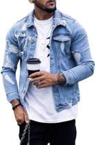 Sky Blue Distressed Buttoned Jeansjackor för män