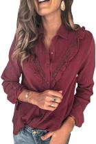 Wine Red Ruffles Crinkled Långärmad skjorta