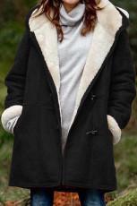 Μαύρο Fleece Suede μεσαίου μήκους κουκούλα